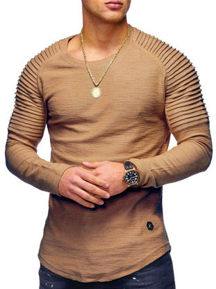 Picture of Men's T-Shirt Fashion Stylish Solid Color Long Sleeve Top - M