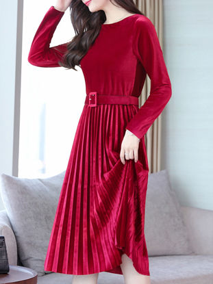 Picture of Women's Pleated Dress Sash Solid Color O Neck Long Sleeve Dress - XXL