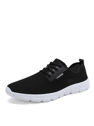 Picture of Men's Running Shoes Solid Color Low Top Lace Up Breathable Sports Shoes - 42