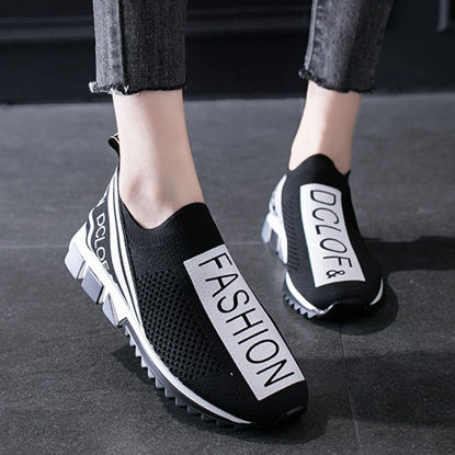 Picture of Women's Sports Shoes Lightweight Breathable Lettered Slip On Shoes - 38