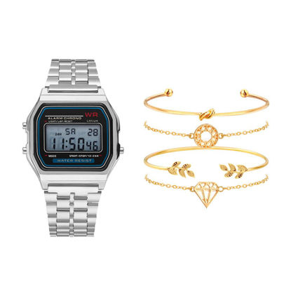 Picture of 5 Pcs Women's Watch Set With Four Bracelets LED Alloy Band Accessories - One Size