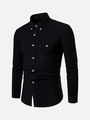Picture of Men's Shirt Fashion Casual Solid Color Top - M