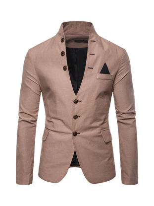 Picture of Men's Blazer Stand Collar Long Sleeve Solid Color Slim Blazer - M