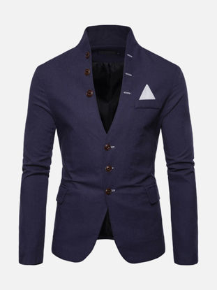 Picture of Men's Blazer Stand Collar Buttons Design Long Sleeve Slim Casual Blazer - M