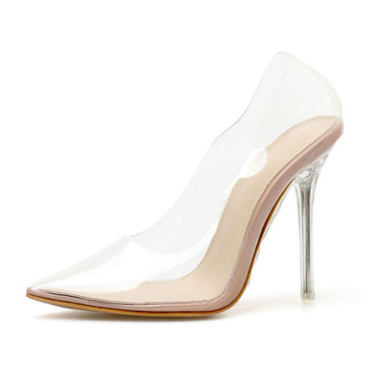 Picture of Women's High-Heeled Pumps Pointed Toe Transparent Thin Heel Shoes - 38