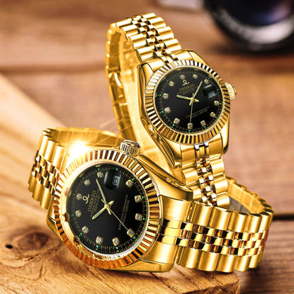 Picture of 2 Pcs Couple Fashion Watches Round Dial Elegant Business Quartz Watch Accessory - One Size