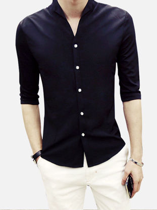 Picture of Men's Shirt Solid Color Half Sleeve Slim Fashion Top - M