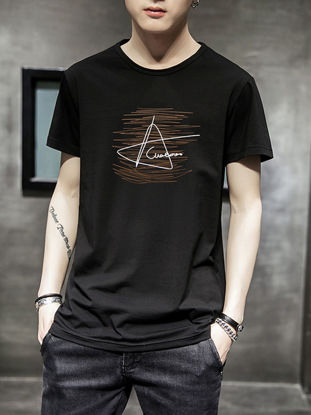 Picture of Men's T Shirt O Neck Print Short Sleeve Top - XXL