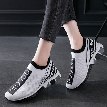 Picture of Women's Sports Shoes Lightweight Breathable Lettered Slip On Shoes - 41
