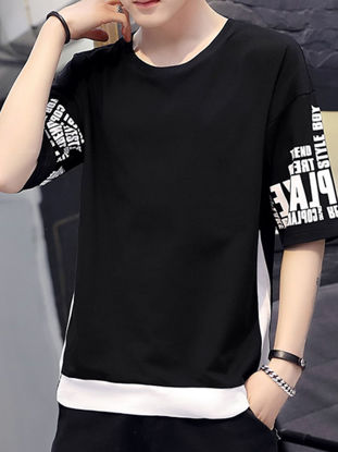 Picture of Men's T-Shirt Fashion O Neck Half Sleeve Patchwork Pattern Top - XL