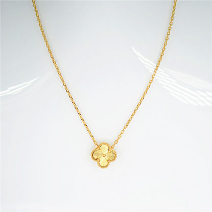 Picture of Women's Fashion Necklace Double-sided Engraving Four-petal Flower Elegant Necklace - Resizable