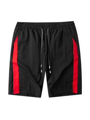 Picture of Men's Casual Shorts Striped Pattern Pocket Decor Drawstring Waist Shorts - 3XL