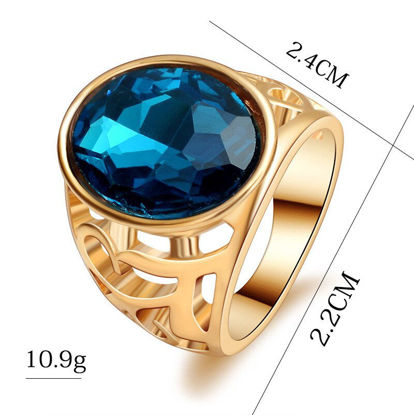 Picture of Men's Fashion Ring Imitation Gemstone Inlay Vintage Hollow Out Design Ring Accessory - 8