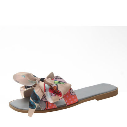 Picture of Women's Open Toe Slippers Bow Design Ladylike Shoes - 38