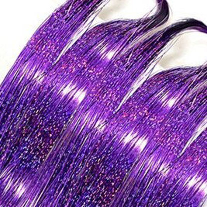 Picture of 100 Strands/Pack Women's Tinsel Hair Extensions Shining Hair Accessory - 18 inch