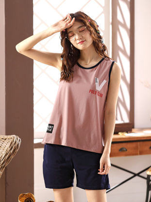 Picture of Couple's Pajamas Set Letter Pattern Tank Top Shorts Casual Comfy Home Set - Women L