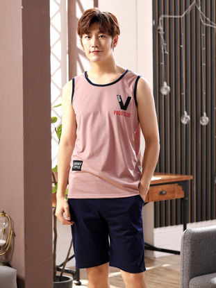 Picture of Couple's Pajamas Set Letter Pattern Tank Top Shorts Casual Comfy Home Set - Men XL