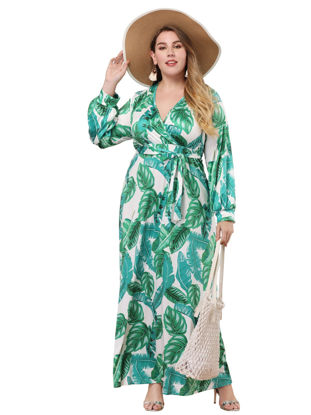 Picture of Women's Aline Dress Plus Size Long Sleeve Print V Neck Dress - 3XL