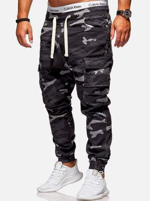 Picture of Men's Cargo Pants ColorBlock Fashion All Match Drawstring Ankle Banded Pants - 3XL