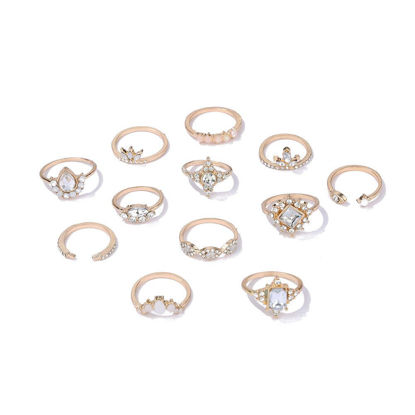 Picture of 12Pcs Women's Ring Set Geometric Pattern Vintage Rings Accessory - One Size