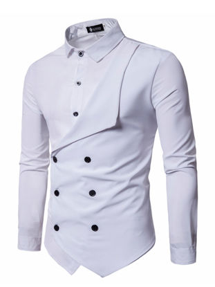 Picture of Men's Shirt Long Sleeve Solid Color Button Decor Fashion Top - 4XL