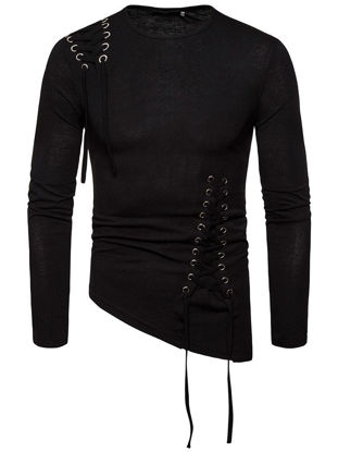 Picture of Men's T Shirt Lace Up Design Long Sleeve Slim Top - XL