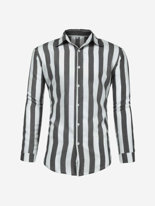 Picture of Men's Shirt Turn Down Collar Long Sleeve Striped Top - XL