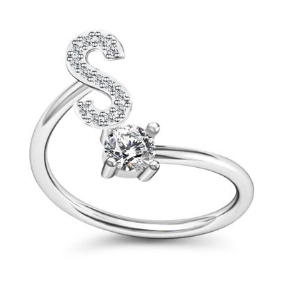 Picture of Women's Fashion Ring Adjustable Letter Decoration Ring - Resizable