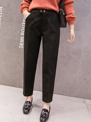 Picture of Women's Straight Leg Solid Color High Waist Fashion Trousers - M