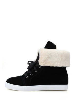 Picture of Warm Cozy Casual Lacing Shoes Preppy Sweet Invisible Heel Women's Boots - Size: 38