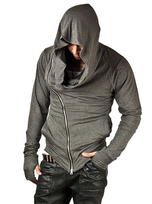 Picture of Men's Hoodie Fashion Casual Zipper Design Solid Color Hooded Sports Tops - Size: L