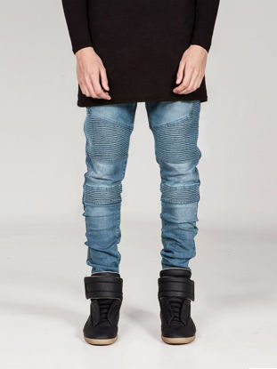 Picture of Men's Jeans Casual Comfy Chic Cascading Ruffle Washed Style All Matched Pants - Size: 40