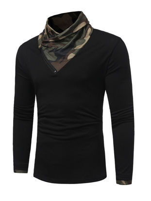 Picture of Men's Henley Camouflage Long Sleeve Comfy Top - Size: L