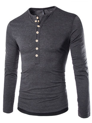 Picture of Men's T Shirt All Match Casual O Neck Long Sleeve T Shirt - Size: XXL