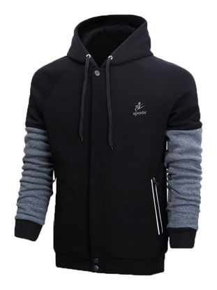 Picture of Men's Hoodie Patchwork Zipper Hooded Warm Hoodie - Size: XL
