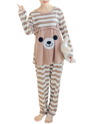 Picture of Maternity Home Clothes Striped Cartoon Pattern Nursing Top And Pants Set - Size: XL