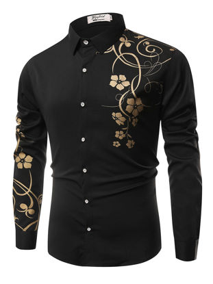 Picture of Men's Shirt Casual Fashion Floral Print All Match Shirt - Size: L
