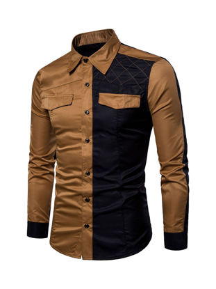 Picture of Men's Shirt Turn Down Collar Long Sleeve Color Block Patchwork Slim Top - Size: L