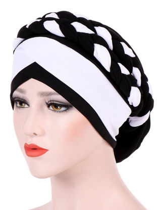 Picture of Women's Beanie Patchwork Color Braid Decoration Hat - Size: One Size