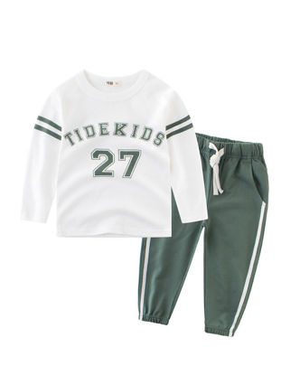 Picture of Toddler Boys Boy's 2 Pcs Sports Pants Set Chic Letter Pattern Comfy Suit - Size: Reference Height:90cm