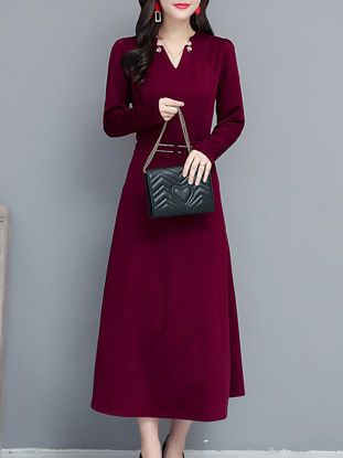 Picture of Women's Aline Dress V Neck Long Sleeve Slim Fit Graceful Maxi Long Dress - Size: M