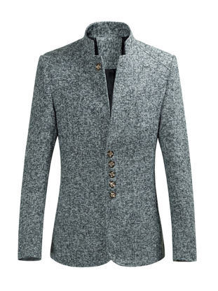 Picture of Men's Blazer Stand Collar Single Breasted Fashion Coat - Size: M