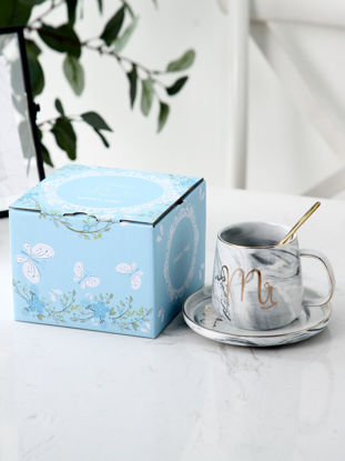 Picture of 3Pcs Cup Saucer Set Color Block Modern Simple Ceramic Cup Set - Size: One Size