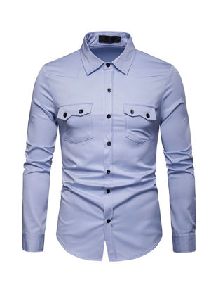 Picture of Men's Shirt Solid Color Button Turn Down Collar Pocket Simple Business Top - Size: S
