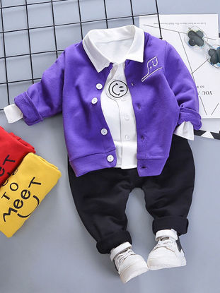 Picture of Toddlers Baby Boy's 3 Pcs Set Casual Style Fashion Outfits - Size: 100cm