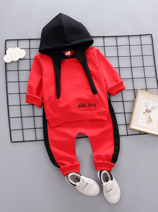 Picture of Toddlers 2Pcs Baby Boy's Casual Sports Outfits Long Sleeve Hoodie Top Fashion Pants Set - Size: 90cm