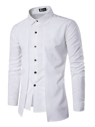 Picture of Men's Shirt Solid Color Patchwork Layer Look Slim Top - Size: XXL