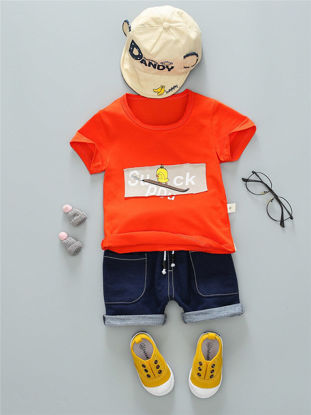 Picture of Toddlers 2Pcs Baby's  Set Fashion Simple Letters Pattern O Neck T Shirt Shorts Suit - Size: 90cm