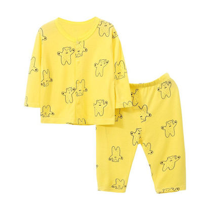 Picture of 2Pcs Baby's Pajamas Set Groovy Cartoon Printed Long Sleeve Casual Top Pants Set - Size: 90cm