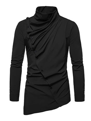 Picture of Men's Shirt Asymmetrical Solid Color Long Sleeve Top - Size: M